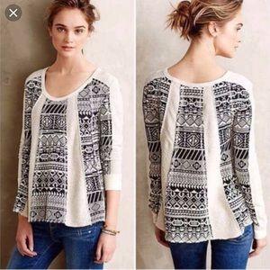 Anthropologie Lilka Black Aztec sweater